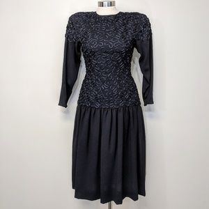 Albert Nipon Drop Waist Dress